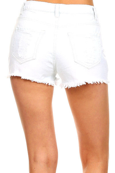 """Chained To my Love"" White Destroyed Jeans Shorts"