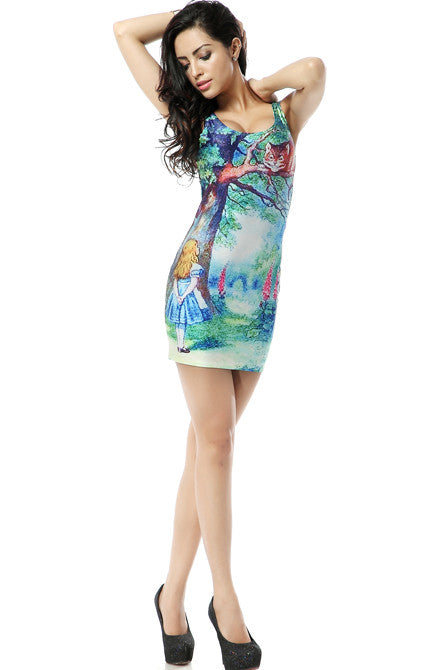 Alice in Wonderland Print Bodycon Dress