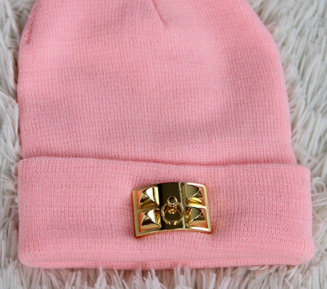 """Collier de Chien"" Gold Hardware Black Beanie (3 colors available)"