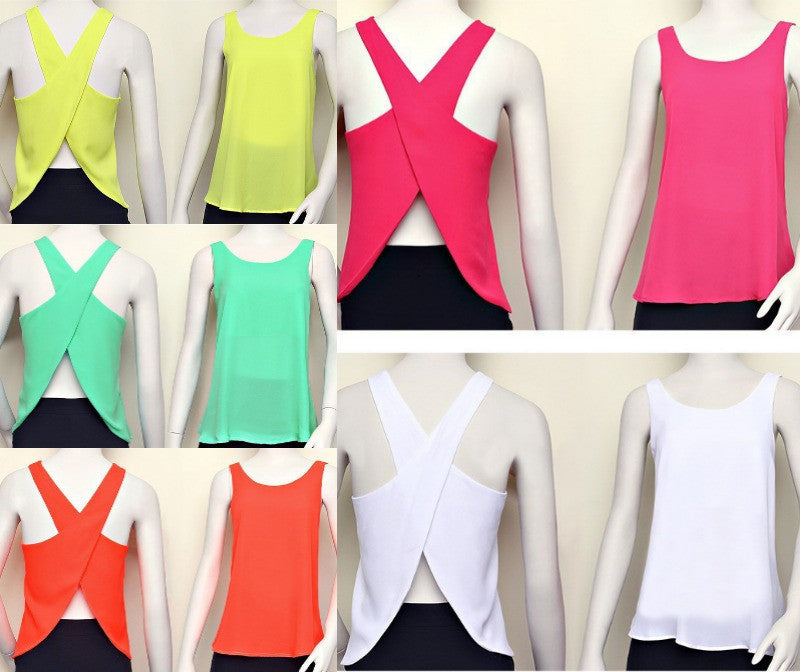 """Summer Serbet"" Criss Cross Back Chiffon Top (5 colors available)"