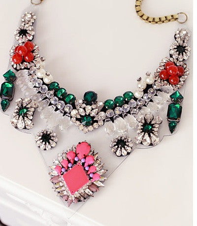 Lyubov Neon Crystal Bib Necklace