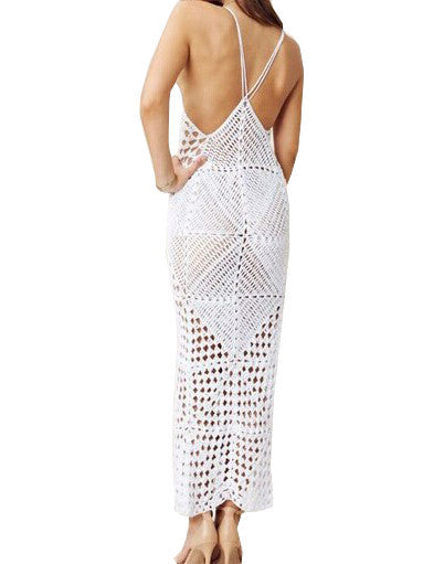 """Ambria"" Crochet Laces Cover Up Maxi Dress"