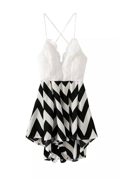 """Light me Up"" Crochet Stripes Onepiece Romper Playsuit"