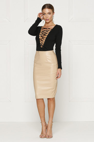 """Burning Desire"" Criss Cross Nude Bandage Bodycon Dress"