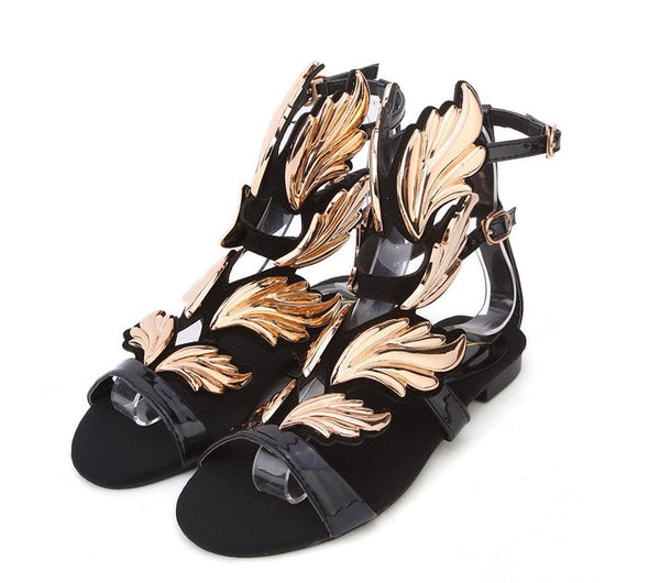Cruel Summer Gold Flame Flat Sandals