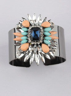 Neon Resin Silver Cuff Bracelet (Mint/Coral)