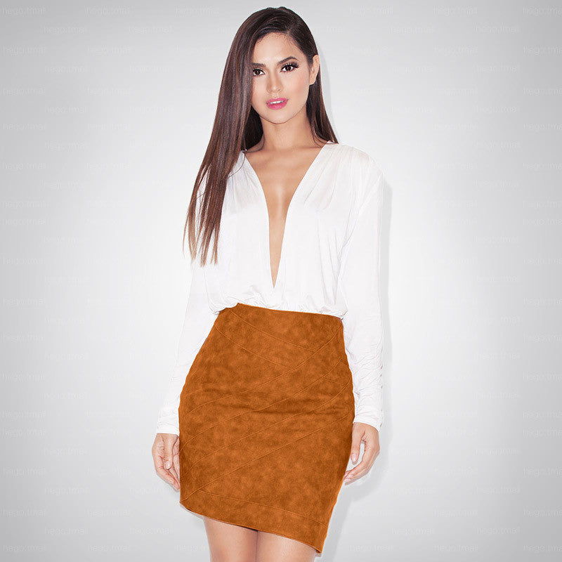"""Carry me Home"" Nude Suede Camel Bodycon Dress"