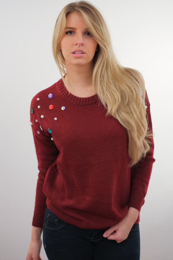 Multicolor Diamonds Shoulder Loose Pullover (3 colors available)