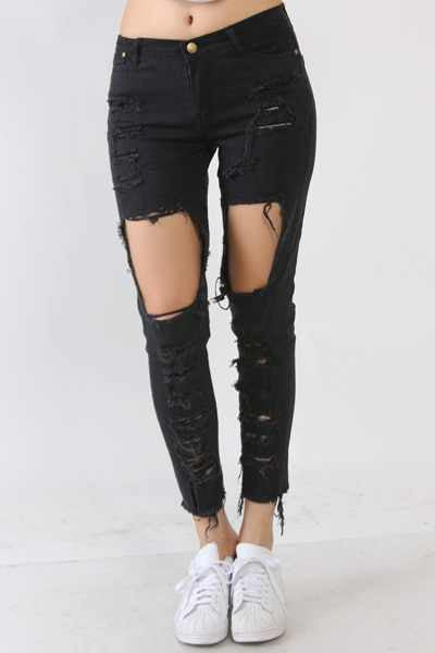 """Total Destruction"" Destroyed Cut-Out Distressed Denim Jeans (2 colors available)"