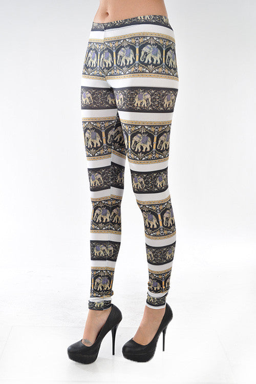 """Namaste"" Elephant Print Leggings"