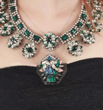 Crystal Embellished Emerald Green Necklace