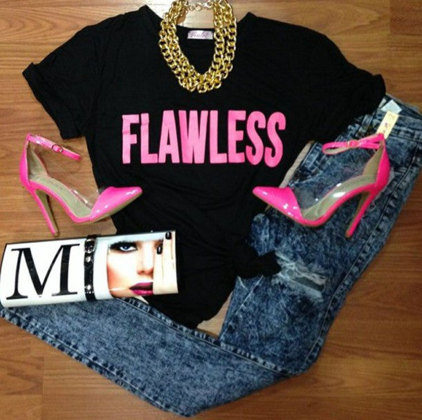 "YONCE ""Flawless"" Hot Pink Print Crop Top"