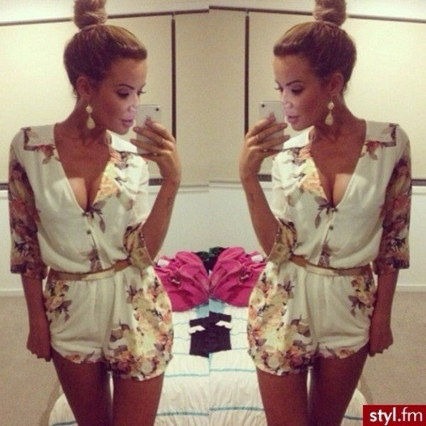 "CHIC ""Autumn Leaves"" Flowers Print Romper"