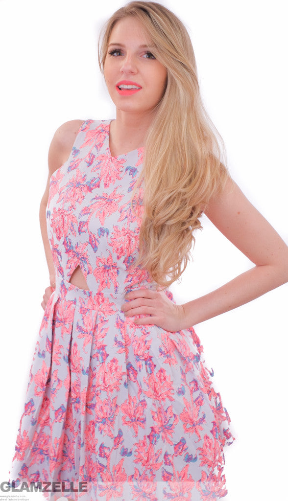 "CHIC ""Floral Heritage"" Cutout Skater Dress (2 colors available)"