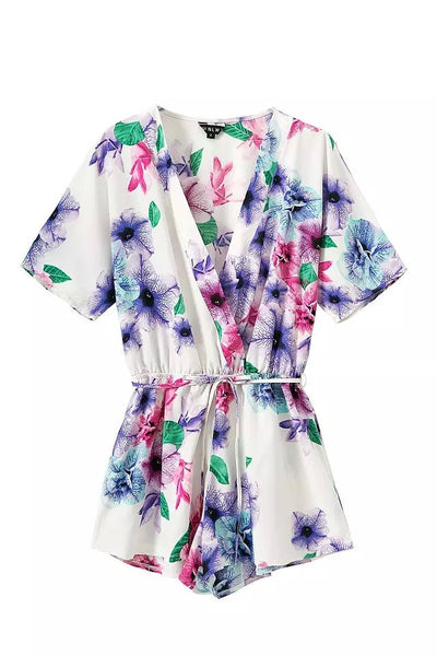 """In the air"" Multicolor Floral Onepiece Romper Playsuit"