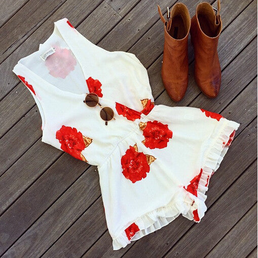 """Happy Girl"" Red floral Onepiece Romper Playsuit"