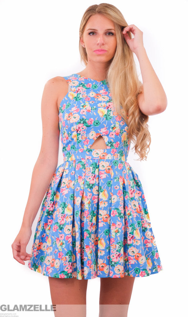 "CHIC ""Floral Majesty"" Print Cutout Babydoll Skater Dress"