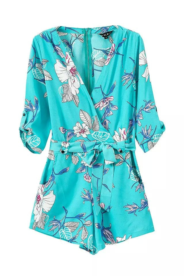"""Guardian Angel"" Floral Turquoise Onepiece Romper Playsuit"