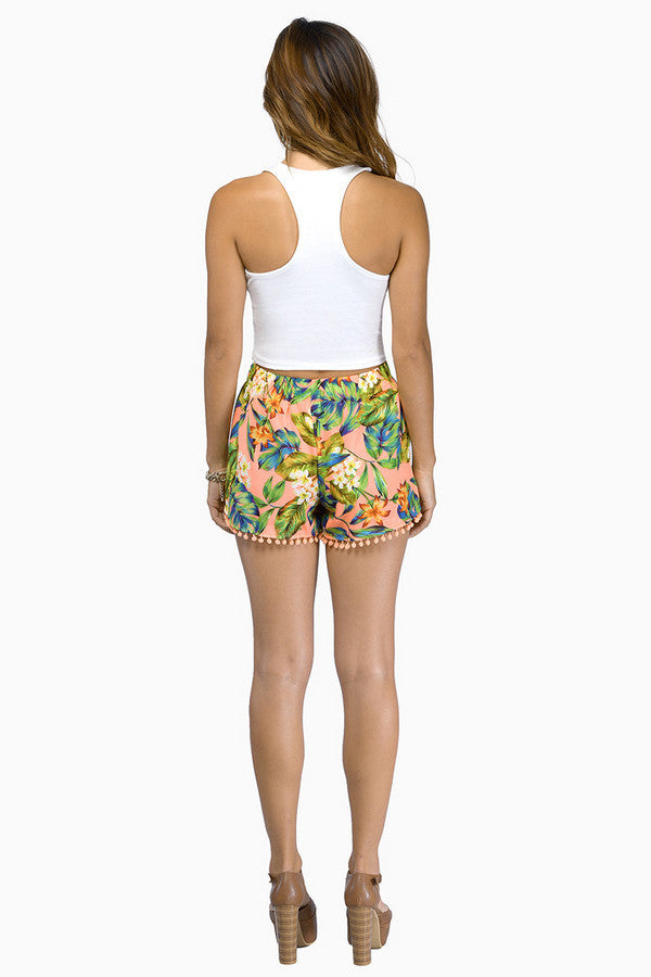 """In the Tropics"" Flowers Pom Pom Shorts (2 colors available)"