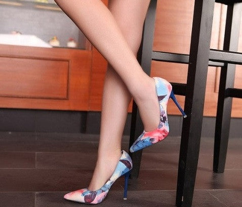 "RED SOLES ""Flowers of Paradise"" High Heels"