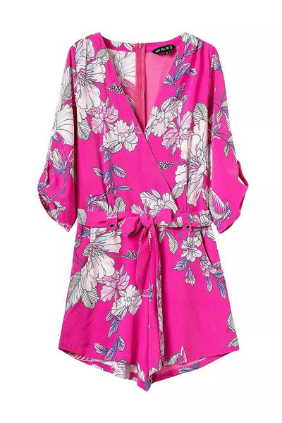 """Guardian Angel"" Floral Hot Pink Onepiece Romper Playsuit"