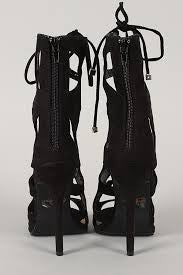 CHIC Black Laced Up Booties Heels