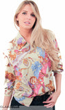 EXCLUSIVE Gold Roses Fuchsia & Mint Blouse