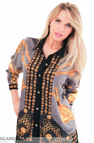 EXCLUSIVE Gold Medusa Baroque Printed Blouse