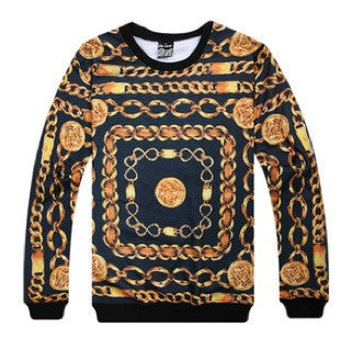 Gold Heavy Chains Print Sweater (Gold)