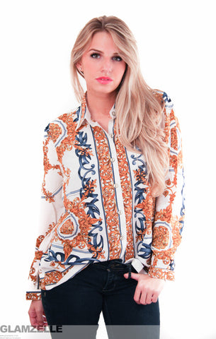 EXCLUSIVE Gold Leaves Baroque Print Blouse