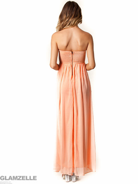 """Glamster's Paradise"" Gold Rose Bandeau Strapless Maxi Dress"
