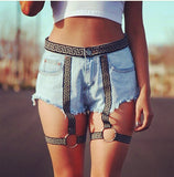 Greek Key Revolt Harness Jeans Shorts