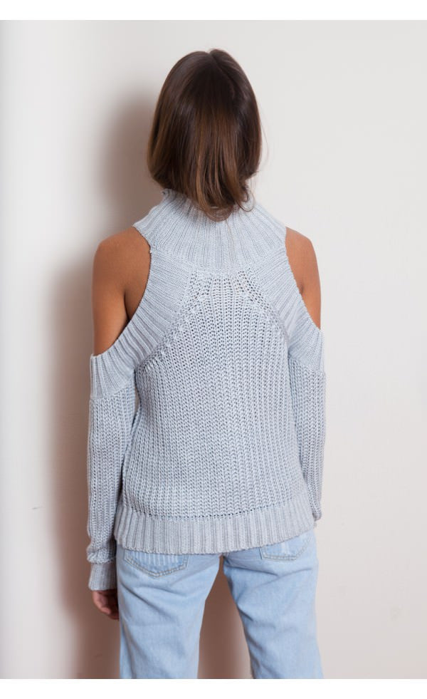 """Miah"" Bare Shoulders Cable Knit Sweater (4 colors available)"