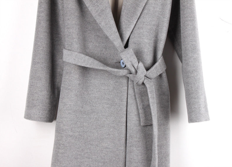 """Modern Minx"" Long Tie Waist Grey Wool Coat"