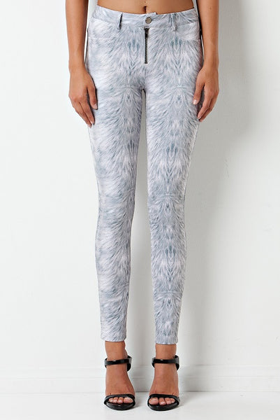 """Holy Grey"" Feather Print Scuba Tube Pants"