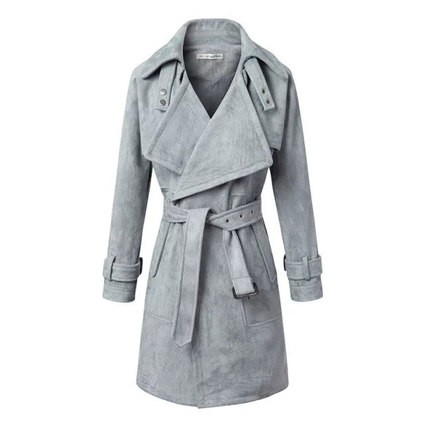 """The Good Life"" Long Tie Waist Suede Coat"