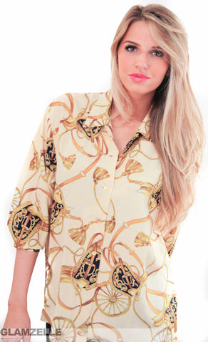 CHIC Saddle Print Blouse