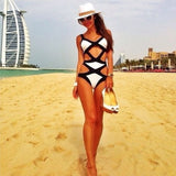BANDAGE Black & White Cutout Monokini One Piece Swimsuit