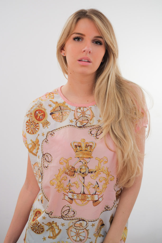"""Hey, Sailor!"" Pink & Gold Chiffon T-Shirt"