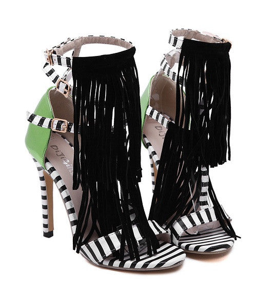 """Posh Life"" Zebra Tassel High Heeled Booties Sandals"