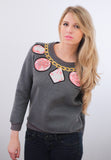 Jewels Embroided Sweatshirt
