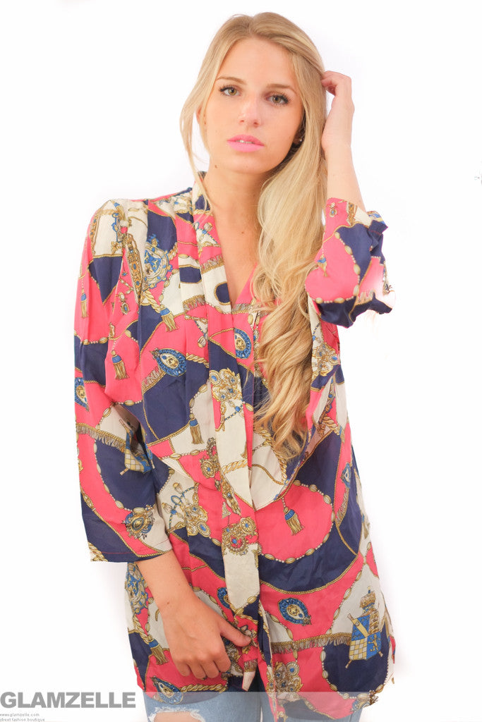 EXCLUSIVE Hot Pink Jewels Print Blouse