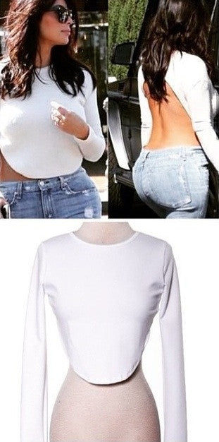 """Chelsey Hi Low"" Kim K White Backless Top (2 colors available)"