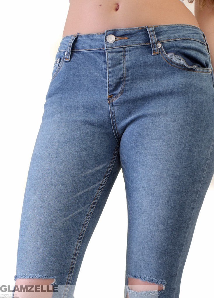 """Talk is Cheap"" Knee Cutout Cotton Denim Jeans"