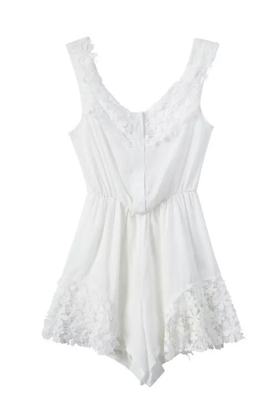 """Lace Is More"" White Crochet Onepiece Romper Playsuit"
