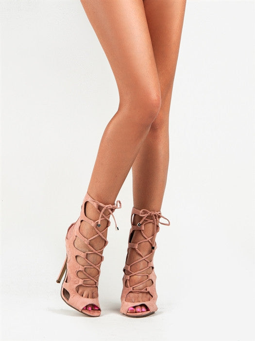 CHIC Nude Laced Up Booties Heels