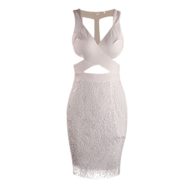 """Modern Marilyn"" White Cutout Laces Dress"