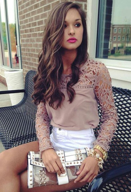 """Taupe Me Not"" Crochet Trim Panel Blouse"