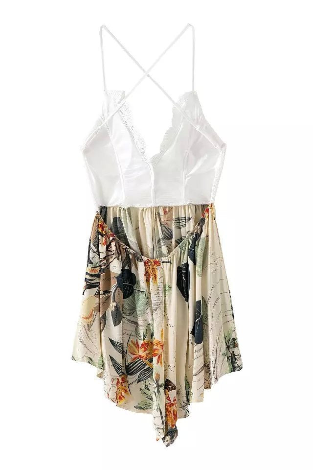 """Show Off"" Crochet Leaves Floral Onepiece Romper Playsuit"