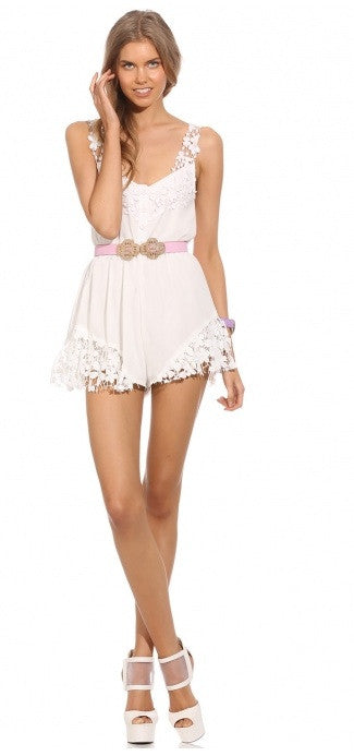 "CHIC ""Pure Angel"" White Laces Playsuit"
